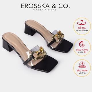 Dép quai xi ch thơ i trang Erosska mu i vuông phô i quai trong cao 5cm ma u đen - EM071 thumbnail