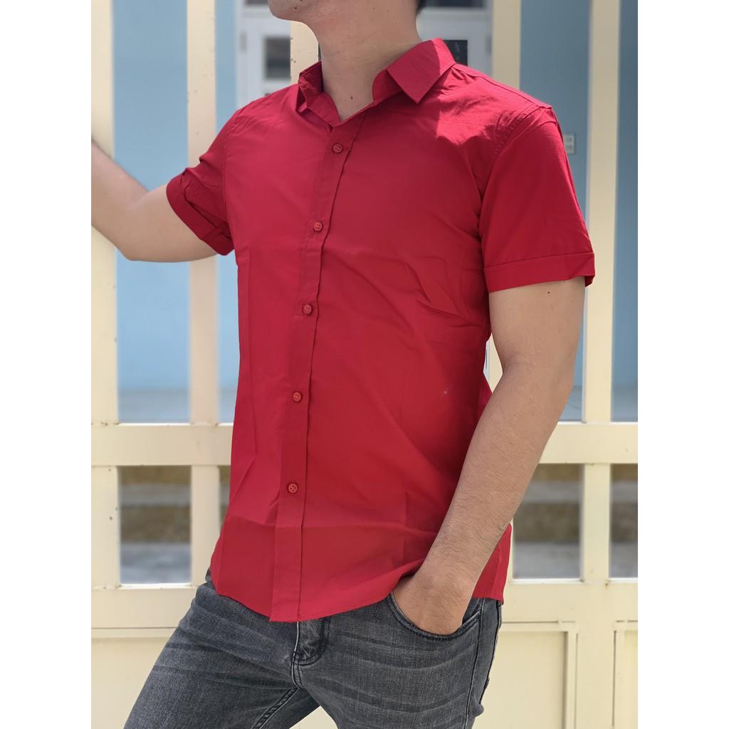 Áo sơ mi nam ngắn tay màu đỏ thời trang