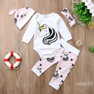 Mu♫-4PCS Infant Baby Girls Unicorn Cotton Romper Tops Jumpsuit Pants Outfits Set