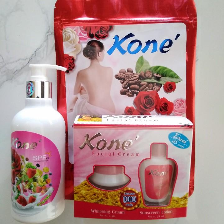 Bộ 3 kem kone dưỡng trắng da gồm_1 hộp kem kone, 1 chai kem body kone, 1 gói tắm trắng kone