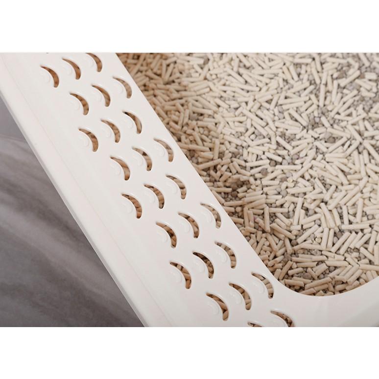 Khay cho mèo đi vệ sinh dạng hình chữ nhật tránh văng cát, khay cát vệ sinh cho mèo Con Mèo Xiêm