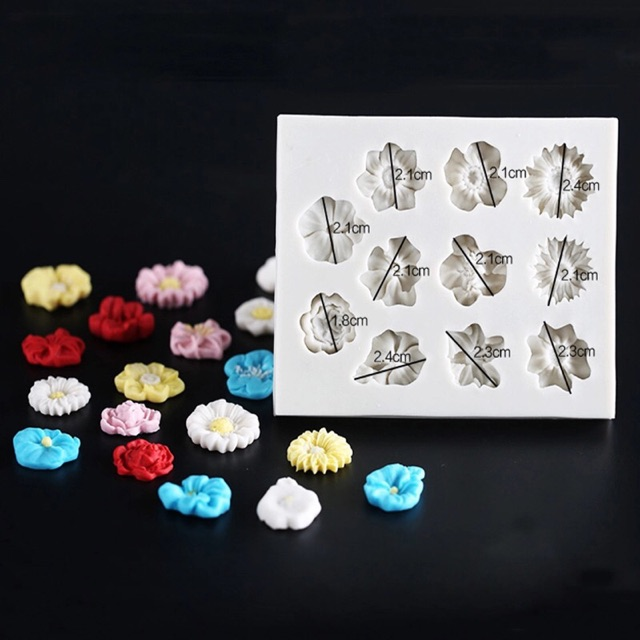 Khuôn Silicon 11 hoa nhí trang trí bánh Trung thu hiện đại,Khuôn Socola,khuôn thạch rau câu