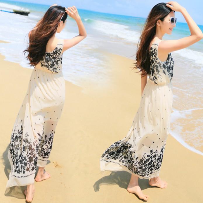 Váy maxi trắng đi biển kết hợp hoa VAY325MAXI  Váy đầm maxi suông thái lan voan trắng
