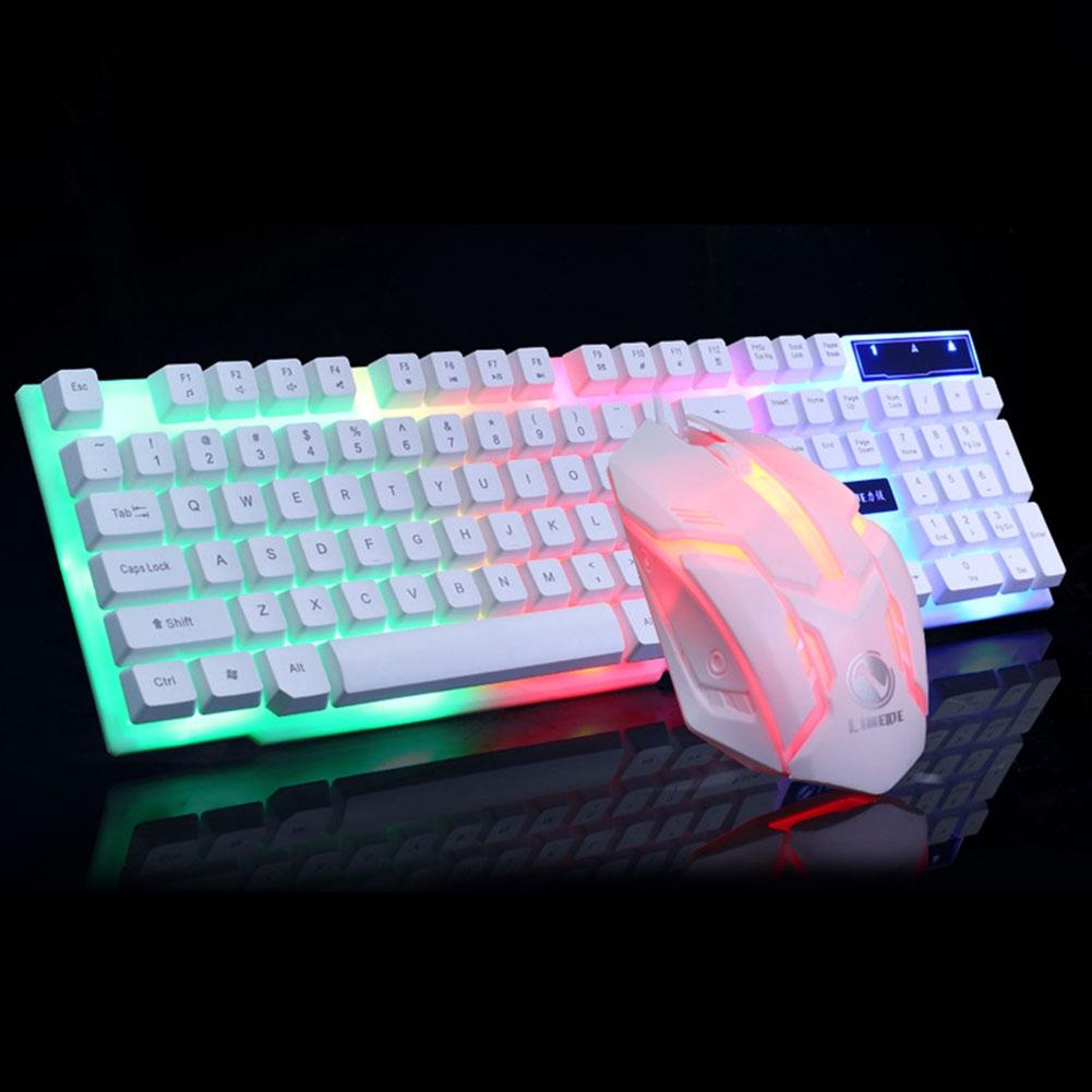 GTX300 LED Backlight Mechanical Home USB Ultra Thin Office Ergonomic Gaming Keyboard Mouse Set