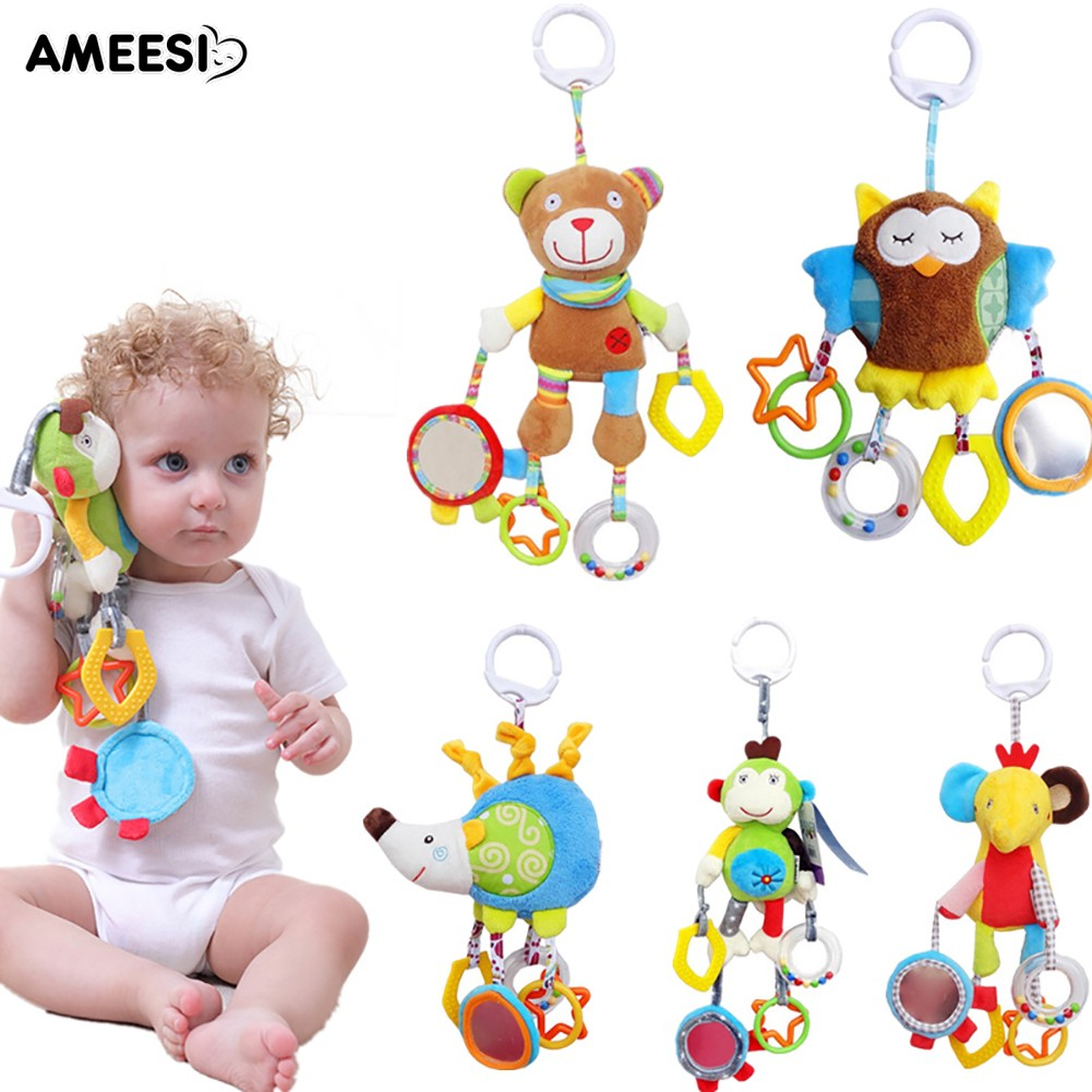 🔅🔆AMEESI  Newborn Baby Crib Hanging Plush Doll Hand Bell Infant Rattle