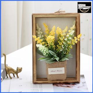 Hoa giả trang trí kiểu khung ảnh treo tường, hoa oải hương KHALIK - chậu hoa bằng vải bố kèm khung ảnh bằng gỗ - HF016-1