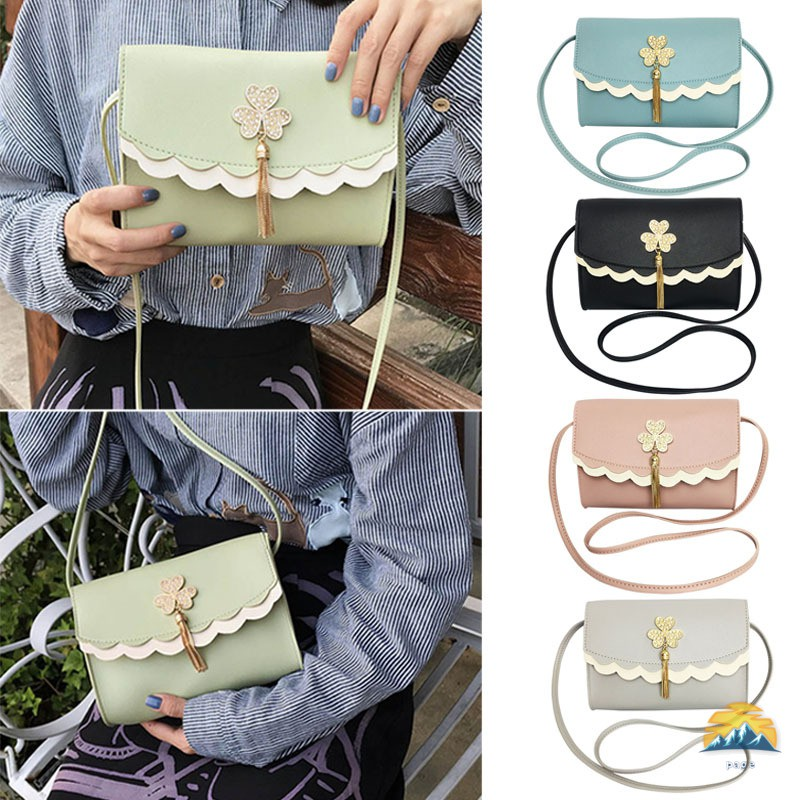 Women Iron Tassel Flower PU Bag Single Shoulder Messenger Bags