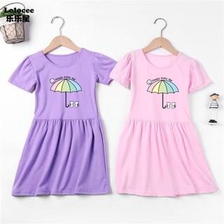 New Summer Girls Dress Cotton Kids Sports Dresses For Baby Girls  Cute Cat Dress
