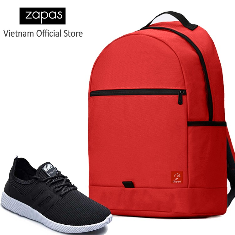 Combo Balo Du Lịch Glado Classical BLL006 (Đỏ) Và Giày Sneaker Thể Thao Zapas GS068 (Đen)