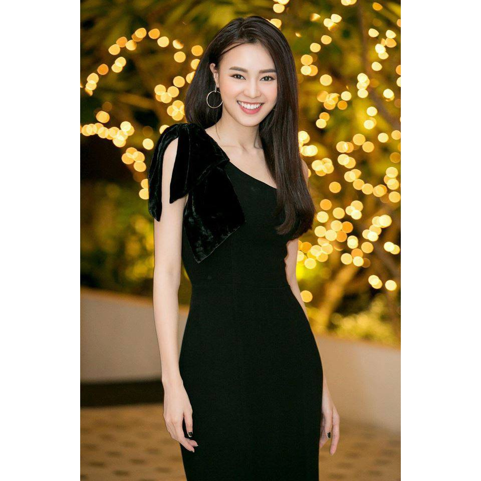Đầm dự tiệc đầm ôm body lệch vai nơ nhung đen quý phái kèm ảnh thật