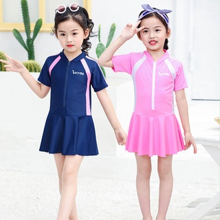 New children's swimsuit, girl boy, conjoined color, student, child training, quick-drying sunscreen swimsuit suit