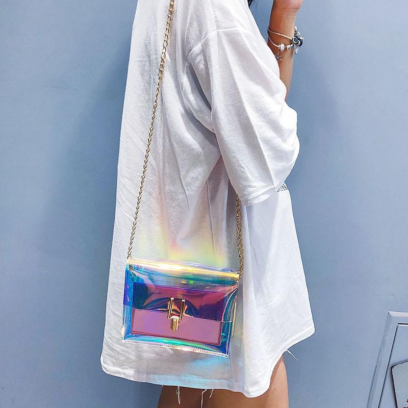 Túi đeo chéo trong suốt dây kim loại phong cách Hàn Quốc dành cho nữ