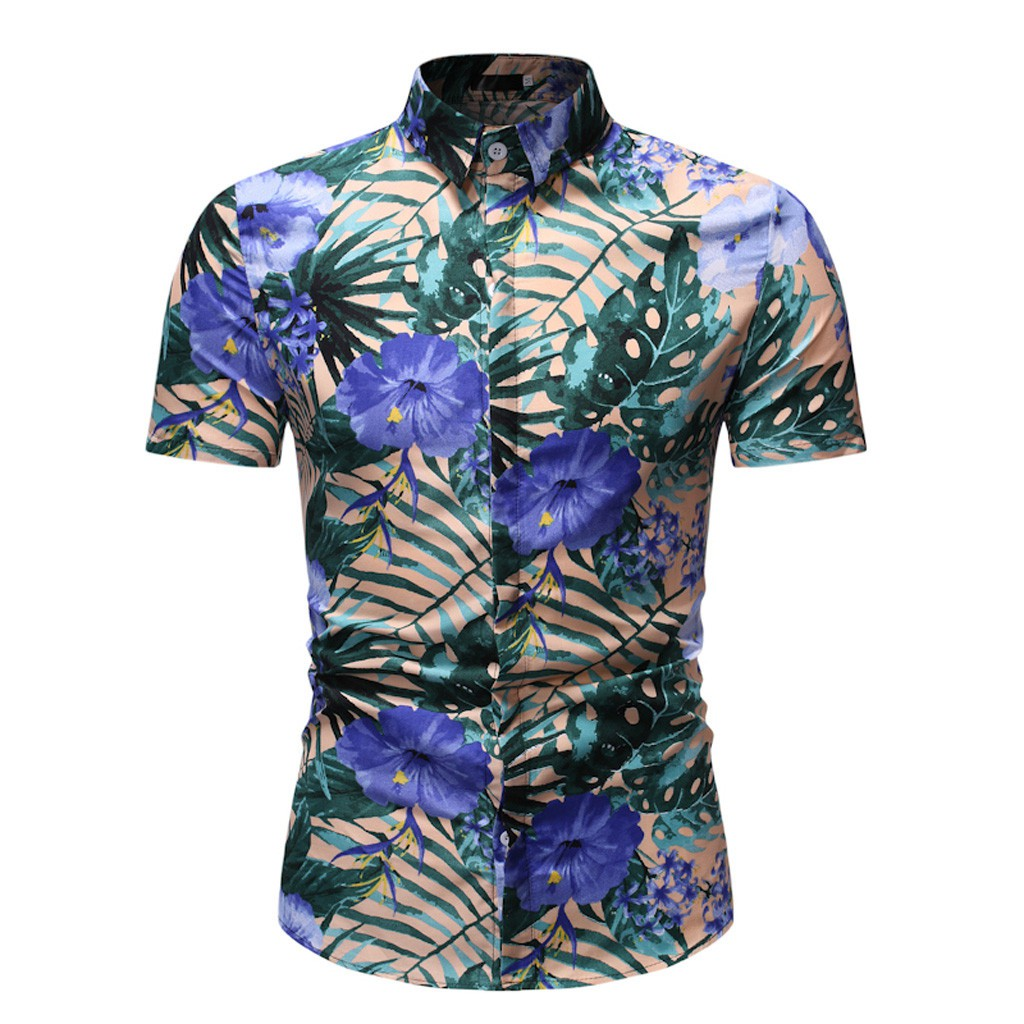 Wanna🌠Men's Summer Fashion Business Leisure Printing Short-sleeved Shirt Top Blouse