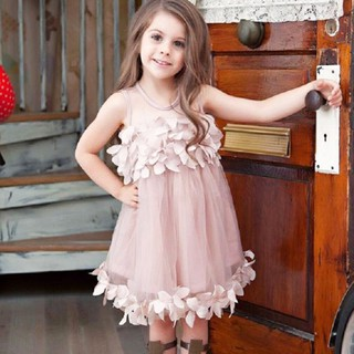 Đầm cộc tay cổ tròn dáng xòe đáng yêu cho bé gái