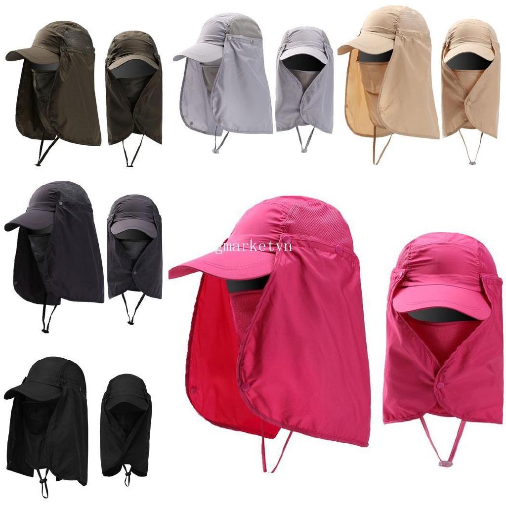 ❤bi❤ Unisex Flap Sun Hat Removable Neck Face Flap Cover Caps for Outdoor