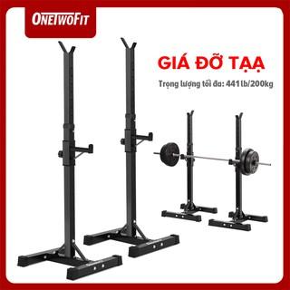 OneTowFit Thiết bị tập thể dục có giá ngồi xổm có thể điều chỉnh Kệ tạ dấu ngoặc tạ tập 112cm đến 177cm OT262 thumbnail