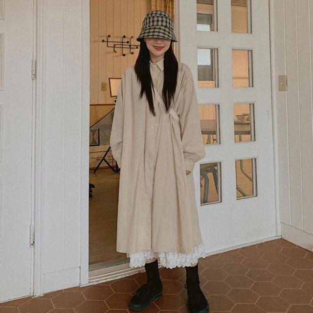 Áo đầm sơ mi dáng dài phối chân váy ren phong cách vintage cho nữ