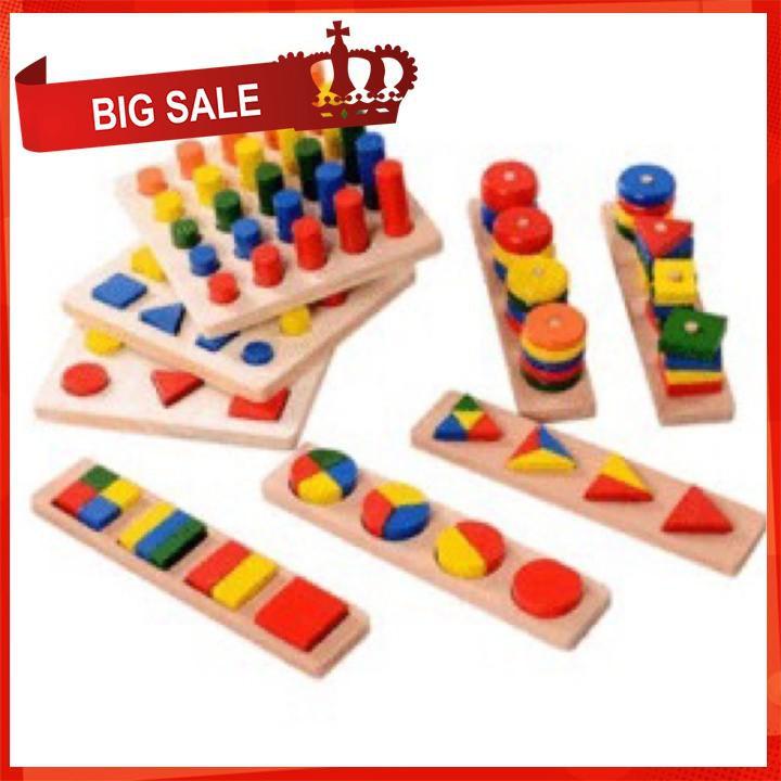 [CỰC ĐẸP] Bộ giáo cụ Montessori hộp 8 món giúp bé làm quen các hình khối [SỈ – LẺ]