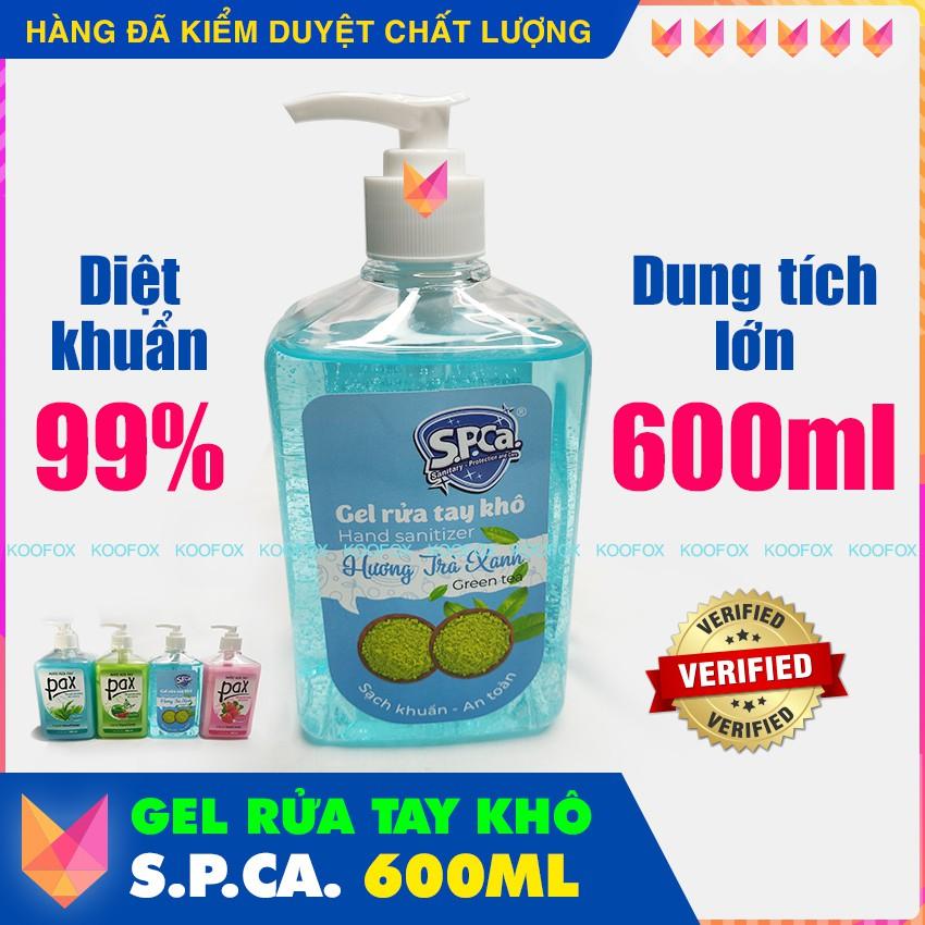 [CHAI LỚN 600ML] Gel Rửa Tay Khô S.P.CA. Kháng/ Diệt Vi Khuẩn 99,99% - Phòng Ngừa Lây Lan Virus - KOOFOX