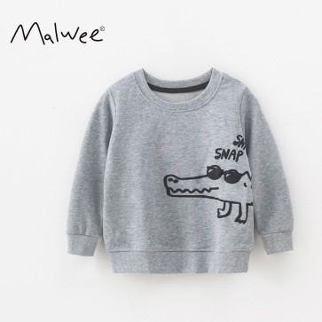 Áo phông dài tay bé trai cao cấp Malwee hoạ tiết cá sấu