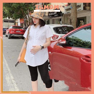 Áo bầu – áo bầu công sở màu trắng cộc tay chất lụa thái không nhăn – Xiimom