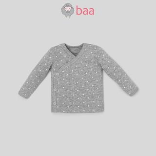 Áo sơ sinh unisex BAA BABY đắp chéo màu xám họa tiết ngôi sao xinh xắn cho bé trai và bé gái - UN-AL01D-001XA