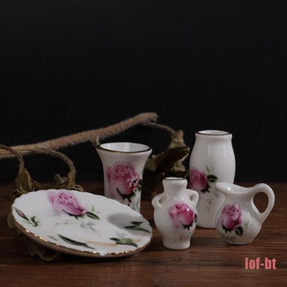 lof-bt Mini Ceramic Vases Of Different Shapes Plate Dollhouse Miniatures Accessorie
