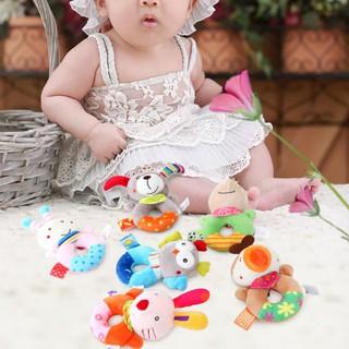 Baby Cartoon Animal Plush Rattle Ring Bell Hand Grasp Toys
