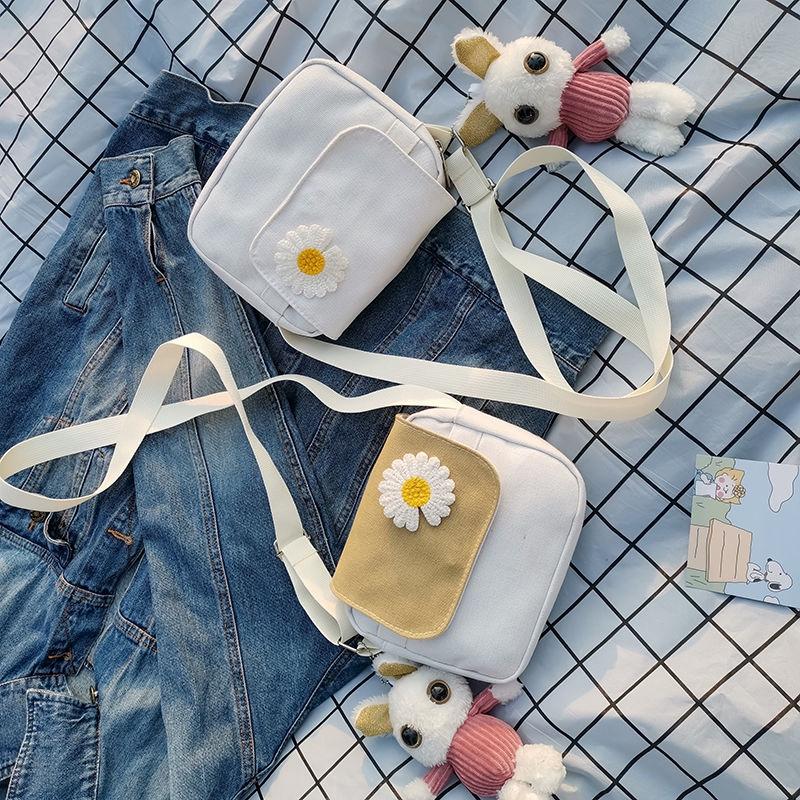 Túi Xách Nữ Vải Bạt Thêu Hoa Cúc Thời Trang Hàn 2020