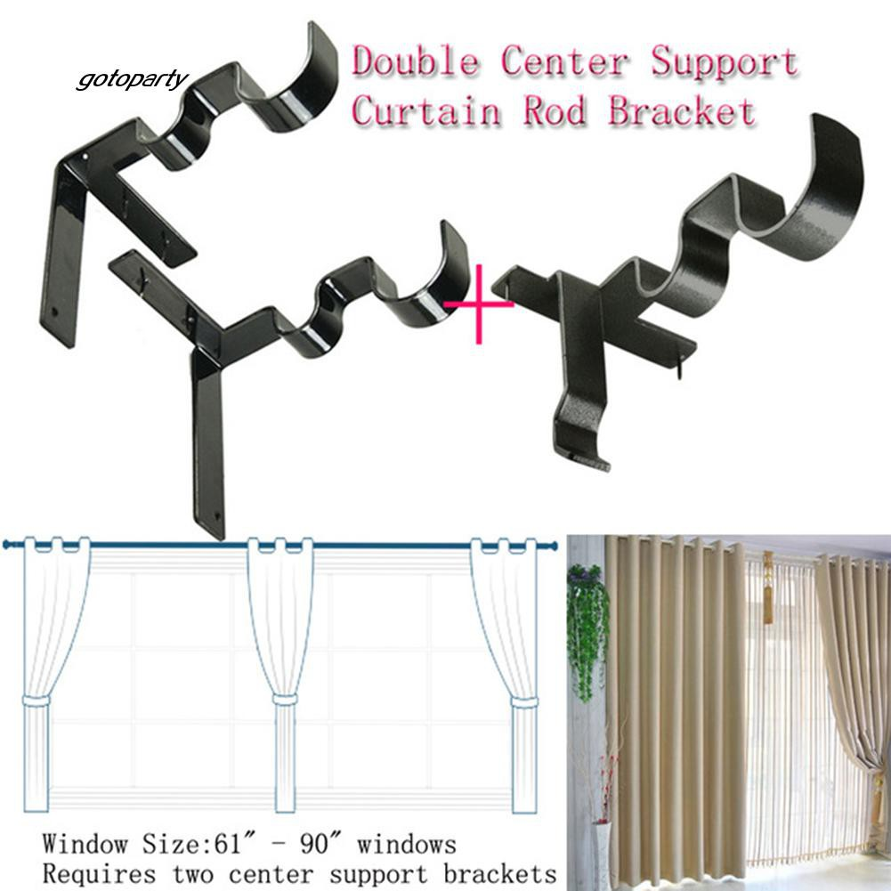 GOTO_3Pcs/Set Double Curtain Rod Holder Wall Bracket Fixing Rack with Center Su