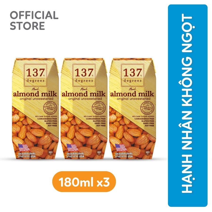 [Mã FMCGT8 giảm 8% đơn 199K] Sữa hạt Hạnh nhân Không đường 137 DEGREES 180ml (Lốc 3 hộp)