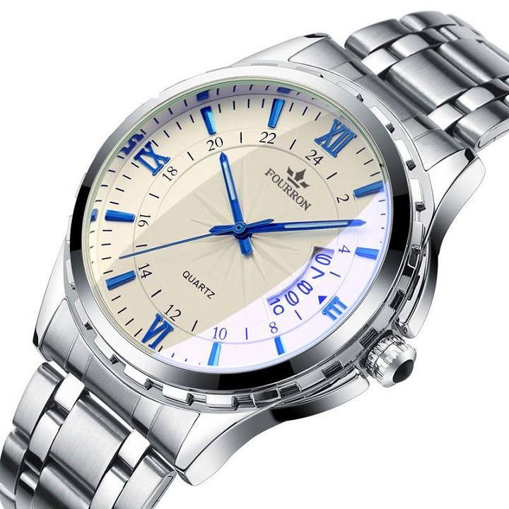 Đồng hồ nam FOURRON Japan AT8888 dây hợp kim thép không gỉ cao cấp (3 màu) + Tặng vòng tay cao cấp 1 đổi 1 trong 7 ngày