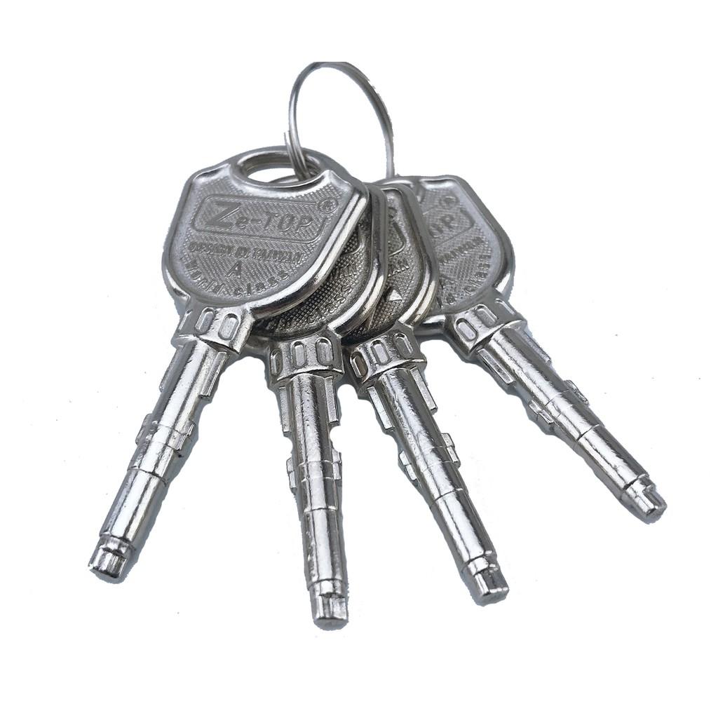 Ổ Khóa Chống Cắt ZETOP TAIWAN Chống Trộm 4 Chìa 10 x 6 cm , Crom Đồng Thau ( ổ khóa nhà cửa, Khóa Phòng , Khóa Xe Máy ,