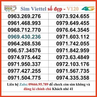 Sim Viettel V120 đầu 09 số đẹp giá rẻ 41 [HOT]