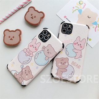 Cartoon Cute Rabbit Bear Skin-Friendly Silk Pattern Holder Soft Phone Case Cover for iPhone 11 Pro Max X XS XR XSMax 8 7 6 6s Plus SE 2020