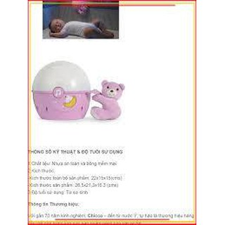 (Rẻ – Đẹp – Chất)Đèn ngủ gắn cũi phát nhạc Gấu hồng Chicco dành cho bé