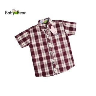 Áo Sơ Mi Cotton Ca Rô màu Nâu tay ngắn bé trai BabyBean
