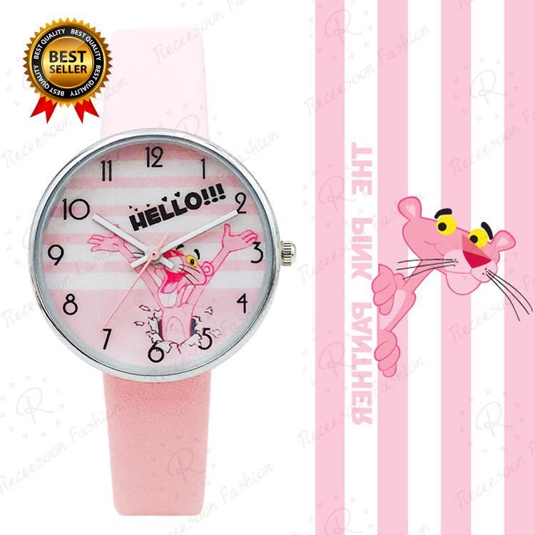 Đồng hồ quartz họa tiết chú báo hồng với dây đeo da cho bé thumbnail