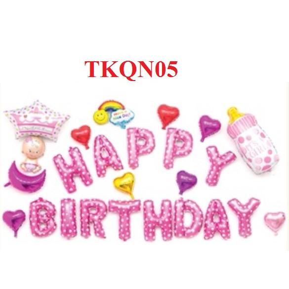 set bóng sinh nhật em bé bình sữa cầu vồng - TKQN05 - TKQN06