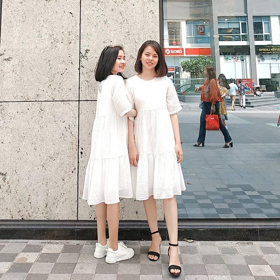 Đầm Babydoll Trắng Dễ Thương Hàng Có Sẵn Shop Tự Chụp