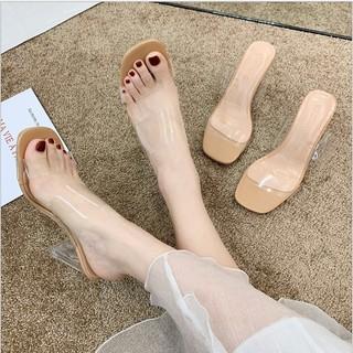Guốc quai trong cao gót 7p cho nữ đế vuông êm chân sang chảnh mẫu mới siêu hot M01