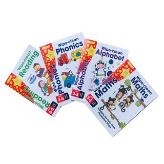 Sách Gold Stars Wipe Clean 4 chủ đề( Mahts - Phonics - Reading - Alphabet ) - Á Châu Book - usborne - thumbnail