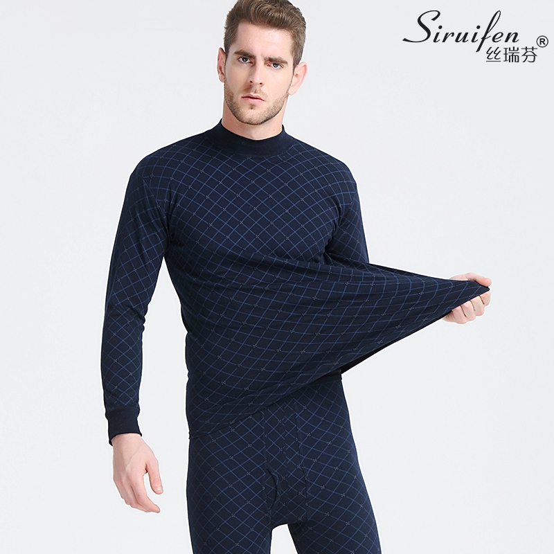 ﹍✔Autumn clothes pants old and middle-aged men cotton warm underwear printing bottom in the high collar sweaters set