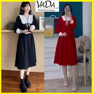 Đầm xòe tay dài cổ viền ren cao cấp sang trọng phù hợp đi tiệc cưới, đi chơi dạo phố cà phê - Thời Trang VADA.vn - V9 thumbnail