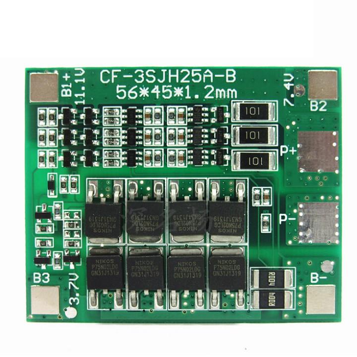 Mạch bảo vệ sạc pin 3 cell 18650- 12.6V - 25A
