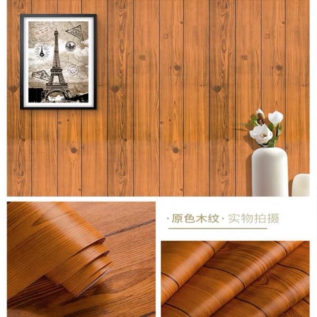 Combo 10 mét giấy dán tường giả gỗ cách dán 3D chống thấm nước