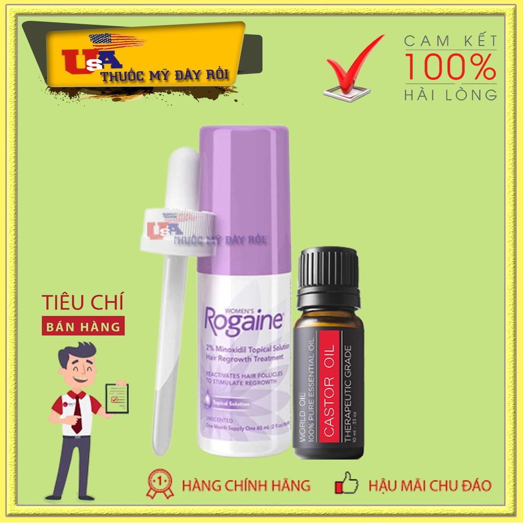 Dung Dịch Mọc Lông Mày Nữ Combo Minoxidil Rogaine 2% Lỏng, Castor Oil giá rẻ
