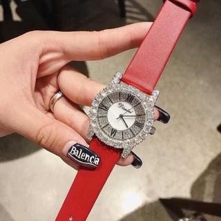 [Free Ship] ( DIMINI) Đồng hồ nữ Dimini dây da đính đá viền lớn -Jun31watch