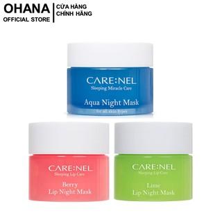 Bộ 3 Mặt nạ ngủ dưỡng ẩm môi Care:nel 5g, Mặt nạ ngủ tẩy tế bào chết môi Care:nel 5g và Mặt nạ ngủ dưỡng ẩm Care:nel 15g