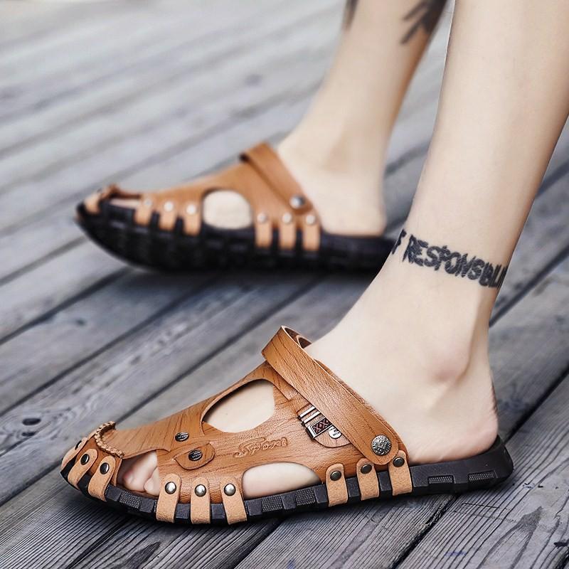 Dép nam dép lê đôi sử dụng 2019 mới dép và dép nam triều từ nam kéo giày đi biển ngoài trời giày da nam